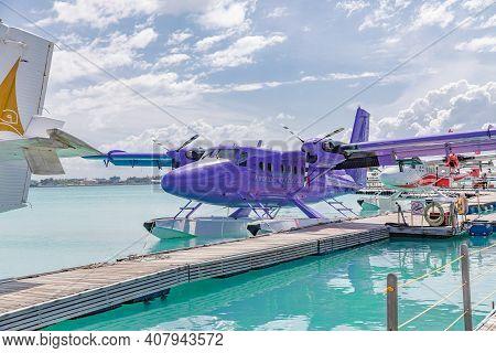 Male, Maldives - October 15, 2019: The Waterdrome Seaplane Terminal. Trans Maldivian Airways Seaplan