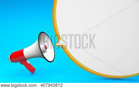 Red Megaphone And Bubble On A Yellow Background. Template With Copy Space For Text For Design. 3d Re