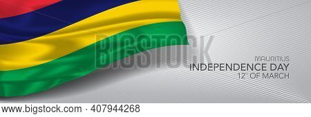 Mauritius Independence Day Vector Banner, Greeting Card