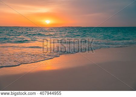 Sea Sand Sky Concept, Sunset Colors Clouds, Horizon, Horizontal Background Banner. Inspirational Nat