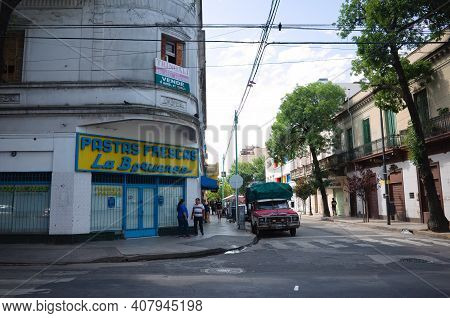 Buenos Aires, Argentina - January, 2020: Traditional Street Corner With Pasta Factory (fabrica De Pa