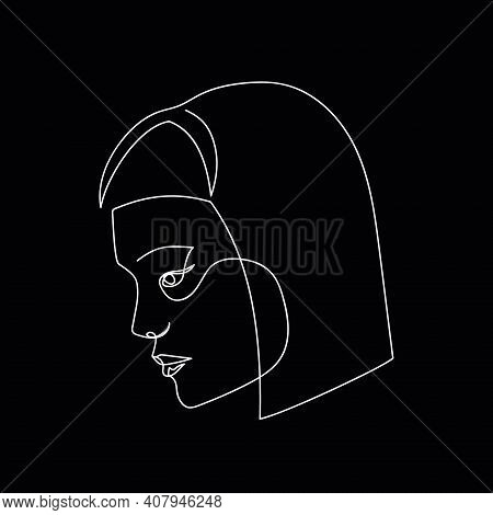 Continuous Line Abstract Face, Side View. Contemporary Female Portrait. Hand Drawn Line Art Of Woman