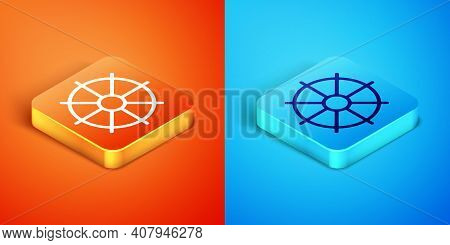 Isometric Dharma Wheel Icon Isolated On Orange And Blue Background. Buddhism Religion Sign. Dharmach