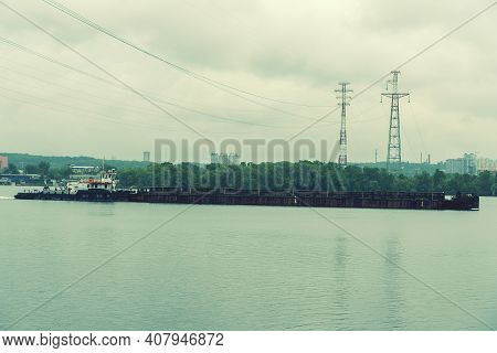 Beautiful Barges From A Height Float On The River. The Barge Floats On The Dnieper River In Kiev. To