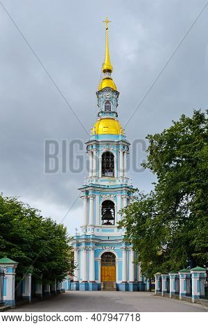 St. Petersburg, The Belltower Of The Naval Epiphany Cathedral Of St. Nicholas