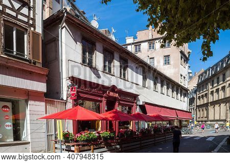 Strasbourg, France - July 29, 2017: Chez Marco Cintra Bar The Iconic Bar In Central Strasbourg A Few