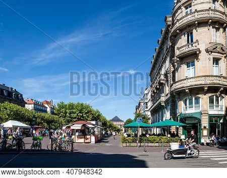 Strasbourg, France - July 29, 2017: Ultra-wide Image Of Place Broglie With An Iconic Cafe On The Rig