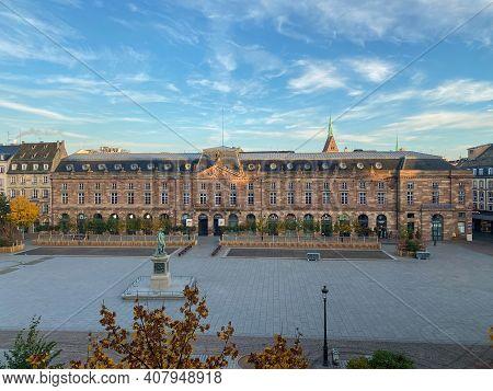 Strasbourg, France - Oct 31, 2020: General Lockdown In Place Kleber In Central Strasbourg During Gen