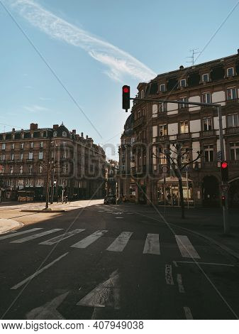 Strasbourg, France - Oct 31, 2020: Empty Streets Of Strasbourg Due To Covid-19 Coronavirus Situation