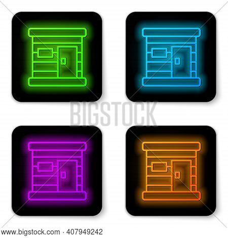 Glowing Neon Line Sauna Wooden Bathhouse Icon Isolated On White Background. Heat Spa Relaxation Ther