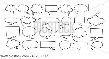 Speech Bubble Signs. Hand Drawn Icons. Collection Of Empty Speech Bubbles. Comic Speech Bubble. Retr