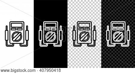 Set Line Ampere Meter, Multimeter, Voltmeter Icon Isolated On Black And White, Transparent Backgroun