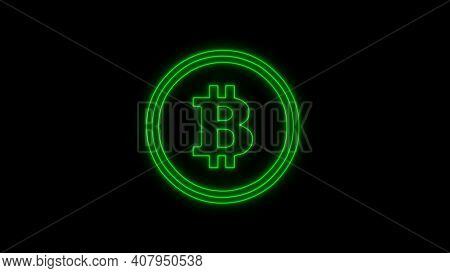 Bitcoin Neon Green Color, Cryptocurrency. Bitcoin Symbol On Black Background. Royalty High-quality F
