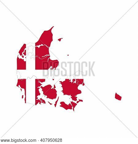 Map Of Denmark. Vector Design Isolated On White Background. Shape Of Denmark Map Filled Up With Dani