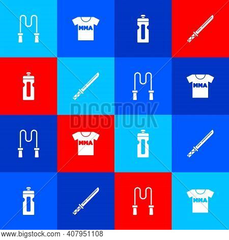 Set Jump Rope, T-shirt With Fight Club Mma, Fitness Shaker And Japanese Katana Icon. Vector