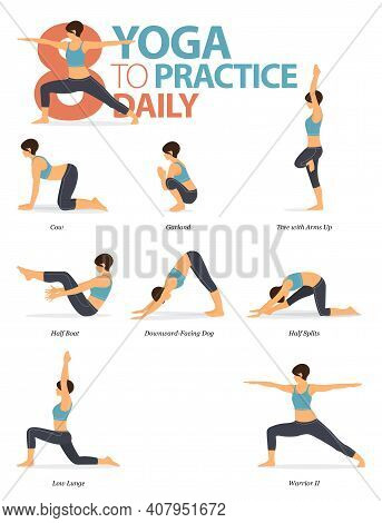 Infographic 8 Yoga Poses For Workout At Home In Concept Of Practice Daily In Flat Design. Women Exer