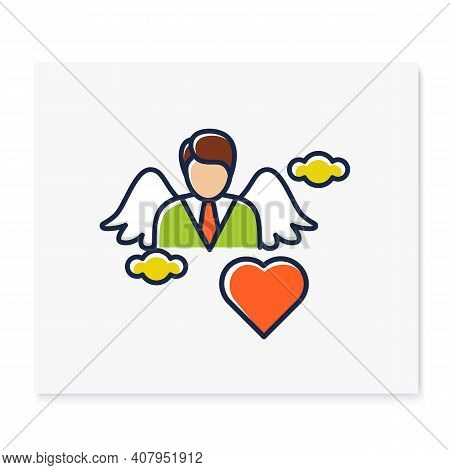 Spiritual Identity Color Icon. Personal Growth Concept. Self Identity. Meaning And Ultimate Existenc