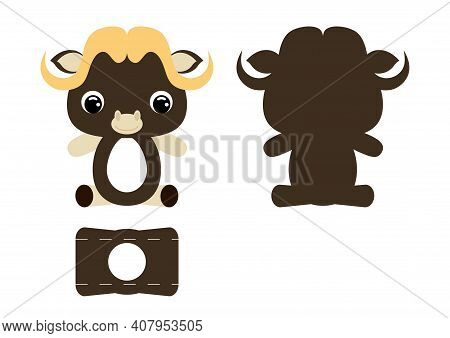 Diy Cute Musk-ox Chocolate Egg Holder Template. Retail Paper Box For The Easter Egg. Printable Color
