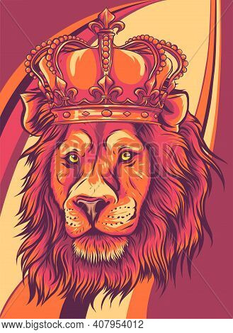 Head Of A Lion With A Crown Vector Illustration