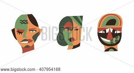 Collection Of Surreal Faces, Head Of Men And Women. Set Of Abstract People Faces. Modern Graphics, C