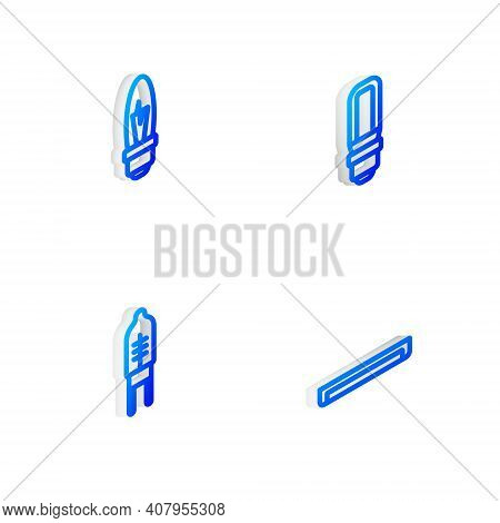 Set Isometric Line Led Light Bulb, Light, Emitting Diode And Fluorescent Lamp Icon. Vector