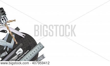 Locksmith Tool Decorative Corner Composition, Craft Hand Metal Processing And Work Skill. 3d Set Too