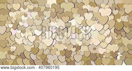 Abstract Background With Beige Hearts - Illustration,  Various Shades Of Beige Hearts Background