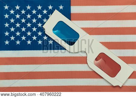 Anaglyph 3d Glasses On The Background Of Usa Flag. Hollywood Blockbuster
