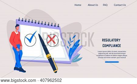 Webpage Interface On Regulatory Compliance, Company Rules Topic. Landing Page Layout For Documents R