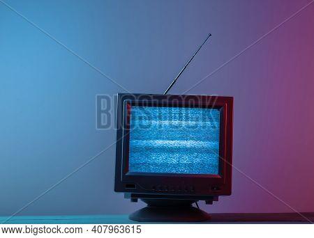 Mini Retro Tv Antenna Receiver. Old Fashioned Tv Set. Pink Blue Gradient Neon Light. Television Nois