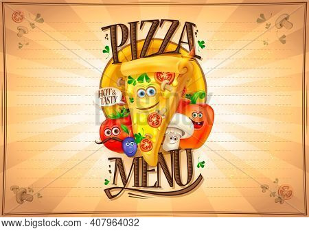 Pizza menu list with cartoon personages - pizza slice and vegetables, copy space for text. Rasterized version