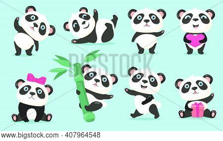 Adorable Panda Set. Cute Cartoon Chinese Bear Baby Waving Hello, Holding Heart Or Gift, Hanging On B