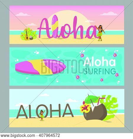 Aloha Banners Design For Hawaiian Resort. Colorful Lady Dancing On Beach And Sea Water. Hawaii Vacat