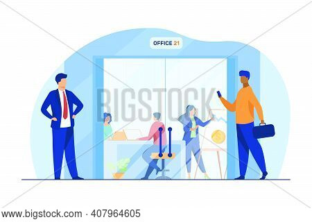 Businesspeople Walking In Corridor To Office Glass Door. Employees At Workplaces And Presentation Bo