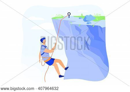 Climber Hanging On Rope And Pulling Himself On Top Of Rocky Mountain Wall. Extreme Mountaineer Climb