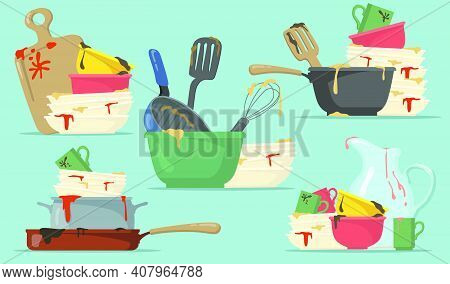 Dirty Plates And Cups Flat Set For Web Design. Cartoon Kitchen Empty Dishes For Washing Isolated Vec