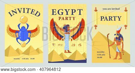 Egyptian Party Invitation Card Template Set. Egyptian Pyramids, Isis, Scarab Vector Illustrations Wi