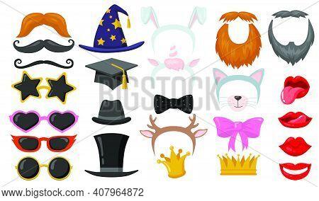 Funny Retro Photobooth Party Flat Elements Set. Cartoon Headbands, Cat Ears, Eyeglasses, Hats, Face