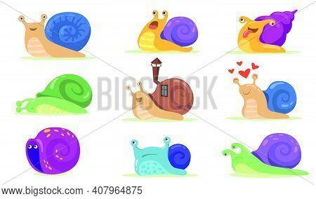 Funny Snail Characters Flat Set For Web Design. Cartoon Snailfish, Slug Or Snail-like Mollusk With S