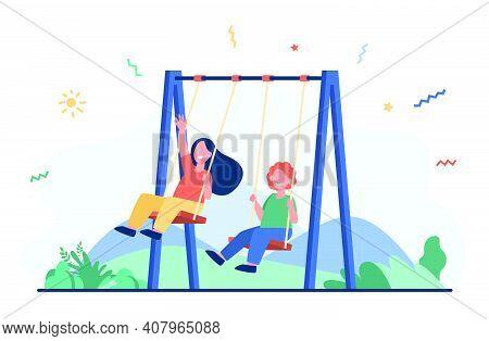 Happy Kids Swinging On Swings. Little Friends Enjoying Activities On Playground. Vector Illustration