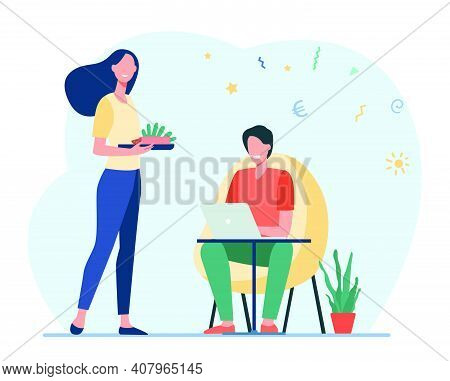 Happy Wife Preparing Food For Man Working At Home. Laptop, Computer, Investment Flat Vector Illustra