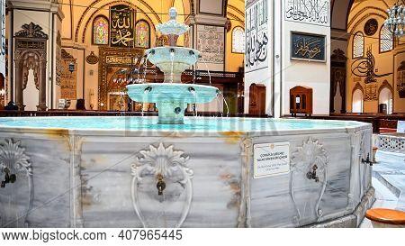 Bursa, Turkey - 10 December 2020: Interior View Of Great Mosquein Bursa, Turkey