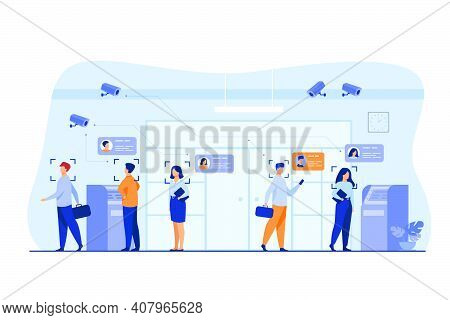 People Standing Queue In Bank To Withdrawing Cash Money Flat Vector Illustration. Ai Face Recognitio