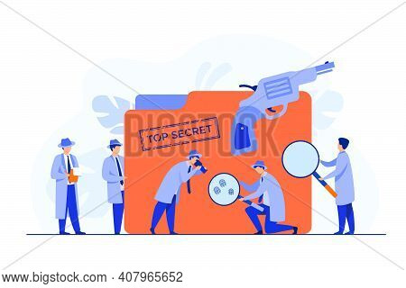 Police Detectives Searching Evidences With Magnifying Glass Flat Vector Illustration. Cartoon Spies