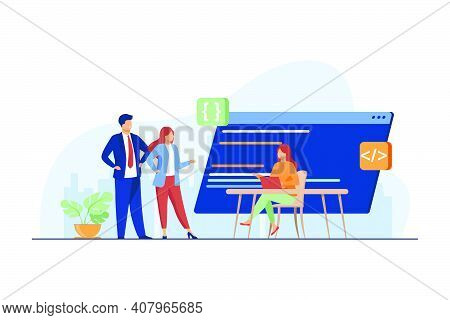 Programmers Coding New Program. Laptop, Code, Development Flat Vector Illustration. Programming And