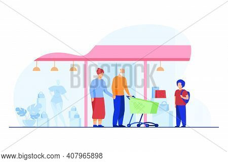 Senior Couple And Kid Shopping In Mall. Boy, Grandparents, Cart, Store Window Flat Vector Illustrati