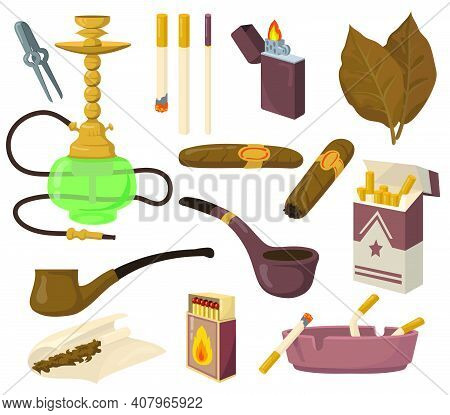 Smoking Accessories Set. Tobacco Leaves, Cigarettes, Hookah, Cigar, Pipe, Ashtray Isolated On White