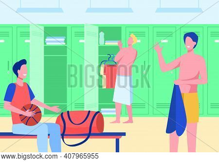Sport Gym Locker Room With Men Flat Vector Illustration. Cartoon Male Football Team Changing Clothes