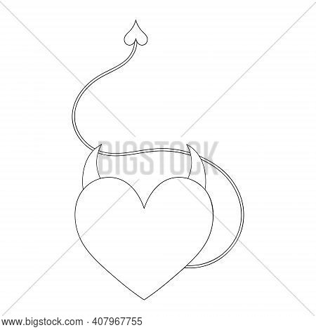 Heart With Horns And A Tail. Sketch. Devils Heart. Vector Illustration. A Symbol Of Love In A Devili