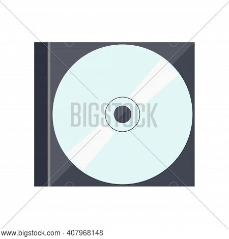 Cd Disc In Compact Disc Case. Cd Or Dvd Standard Model. Top View. Vector Illustration